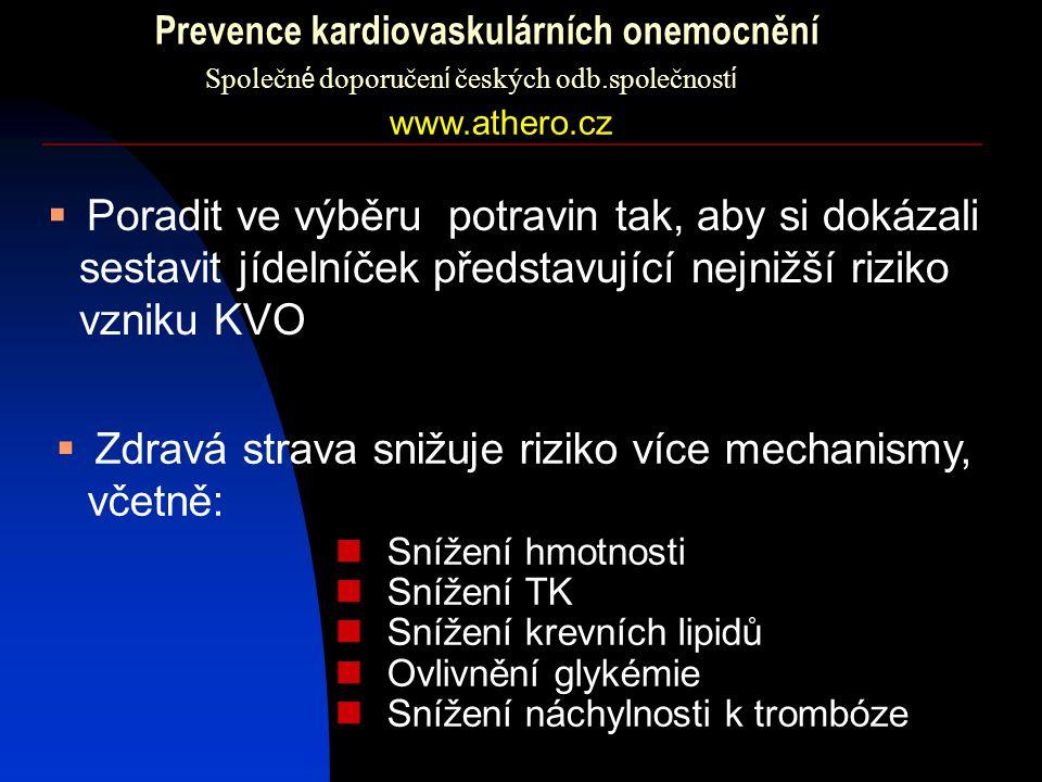 Prevence kardiovaskulárních onemocnění Společn é doporučen í českých odb.společnost í  Poradit ve výběru potravin tak, aby si dokázali sestavit jídel