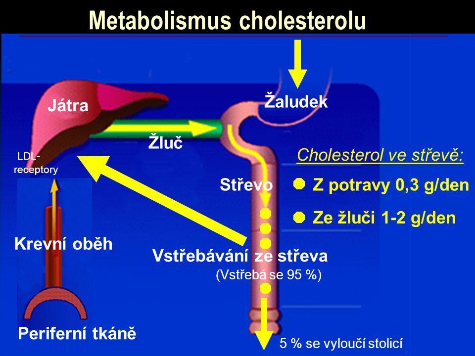 Metabolismus cholesterolu Střevo Žaludek Játra Periferní tkáně Krevní oběh Žluč Vstřebávání ze střeva Cholesterol ve střevě: Z potravy 0,3 g/den (Vstřebá se 95 %) Ze žluči 1-2 g/den 5 % se vyloučí stolicí LDL- receptory