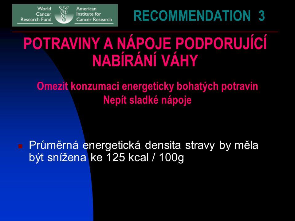 RECOMMENDATION 3 POTRAVINY A NÁPOJE PODPORUJÍCÍ NABÍRÁNÍ VÁHY Omezit konzumaci energeticky bohatých potravin Nepít sladké nápoje Průměrná energetická densita stravy by měla být snížena ke 125 kcal / 100g