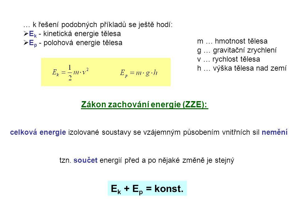 Zákon zachování hybnosti (ZZH) celková hybnost izolované soustavy těles se vzájemným silovým působením nemění p celk = p 1 + p 2 + p 3 + …. = konst. c