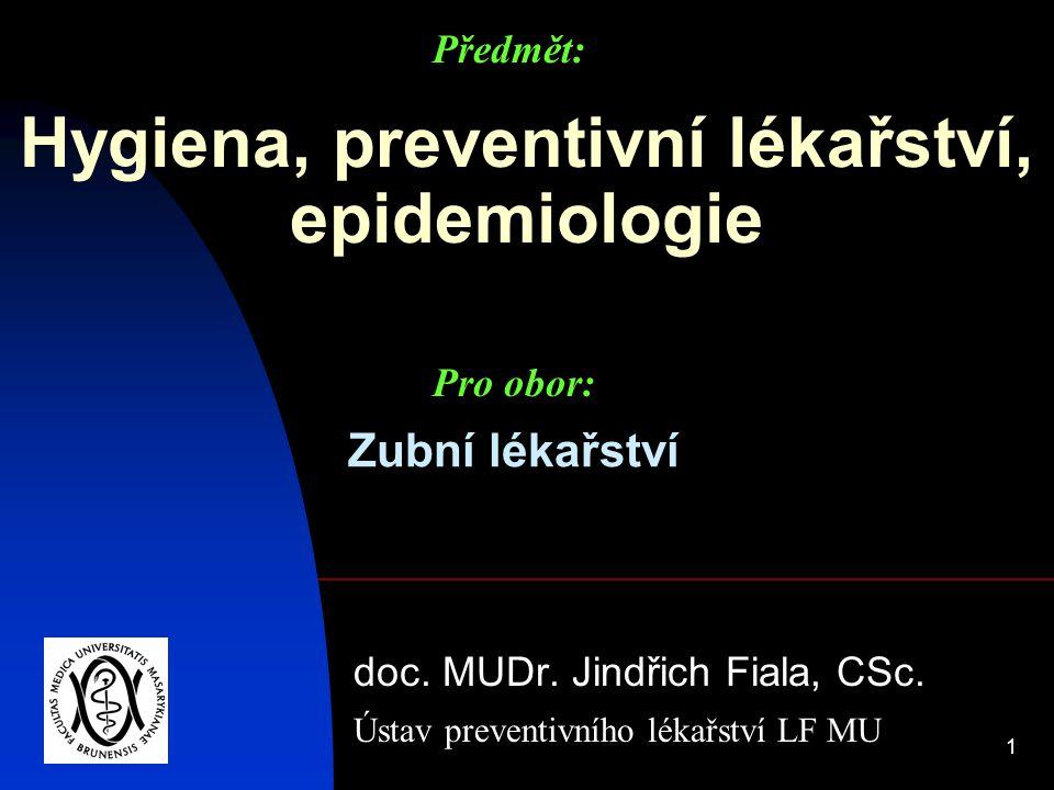 1 Hygiena, preventivní lékařství, epidemiologie doc. MUDr. Jindřich Fiala, CSc. Ústav preventivního lékařství LF MU Předmět: Pro obor: Zubní lékařství