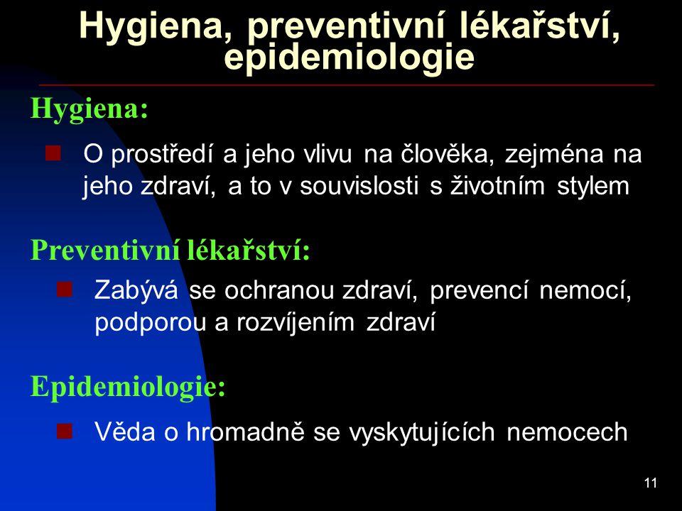 11 Hygiena, preventivní lékařství, epidemiologie Hygiena: O prostředí a jeho vlivu na člověka, zejména na jeho zdraví, a to v souvislosti s životním s