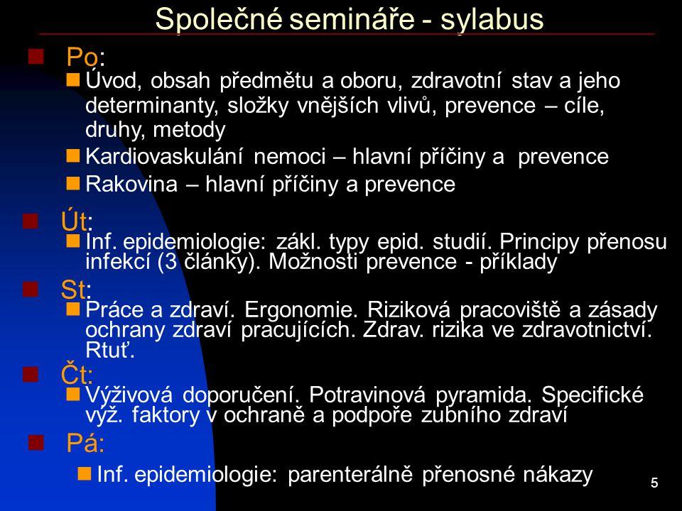 5 Společné semináře - sylabus Po: Úvod, obsah předmětu a oboru, zdravotní stav a jeho determinanty, složky vnějších vlivů, prevence – cíle, druhy, met