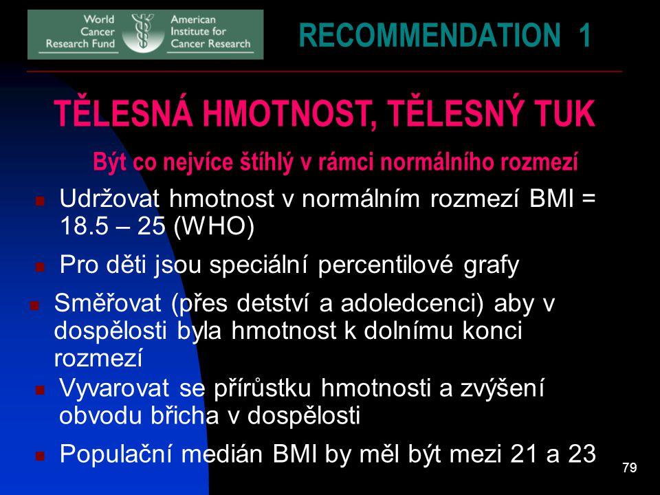 79 RECOMMENDATION 1 TĚLESNÁ HMOTNOST, TĚLESNÝ TUK Být co nejvíce štíhlý v rámci normálního rozmezí Udržovat hmotnost v normálním rozmezí BMI = 18.5 –