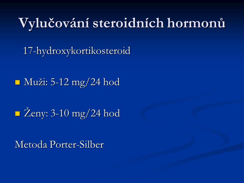 Vylučování steroidních hormonů 17-hydroxykortikosteroid 17-hydroxykortikosteroid Muži: 5-12 mg/24 hod Muži: 5-12 mg/24 hod Ženy: 3-10 mg/24 hod Ženy: