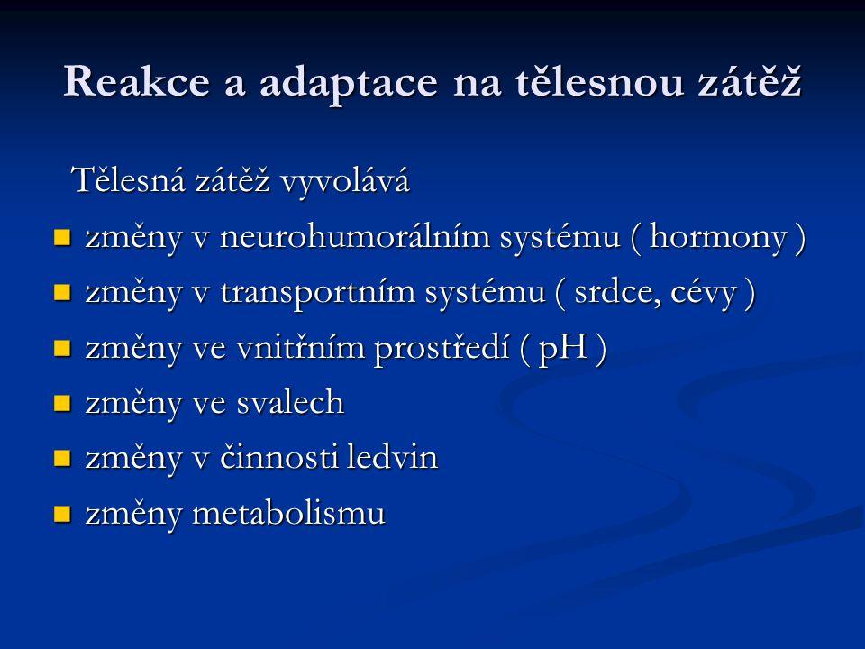 Reakce a adaptace na tělesnou zátěž Tělesná zátěž vyvolává Tělesná zátěž vyvolává změny v neurohumorálním systému ( hormony ) změny v neurohumorálním
