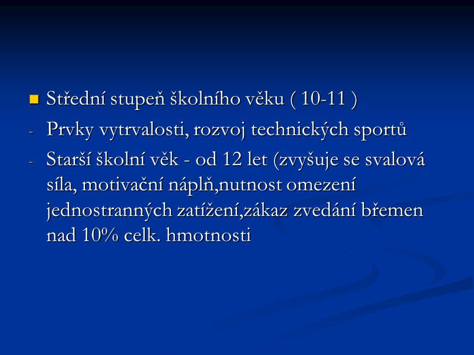 Střední stupeň školního věku ( 10-11 ) Střední stupeň školního věku ( 10-11 ) - Prvky vytrvalosti, rozvoj technických sportů - Starší školní věk - od