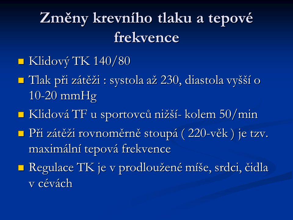Změny krevního tlaku a tepové frekvence Klidový TK 140/80 Klidový TK 140/80 Tlak při zátěži : systola až 230, diastola vyšší o 10-20 mmHg Tlak při zát