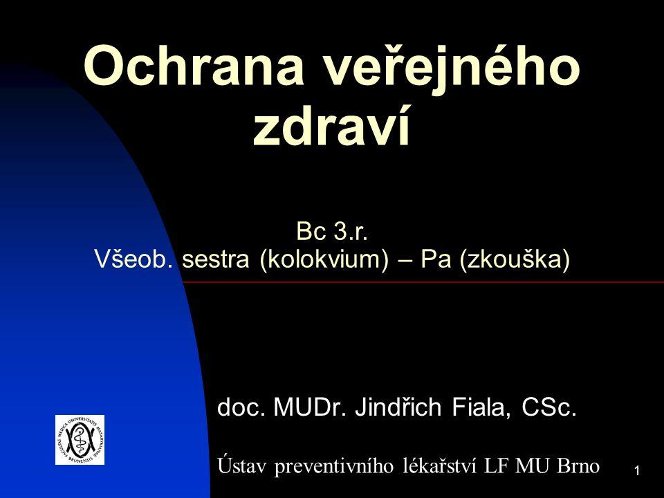 1 Ochrana veřejného zdraví doc. MUDr. Jindřich Fiala, CSc. Ústav preventivního lékařství LF MU Brno Bc 3.r. Všeob. sestra (kolokvium) – Pa (zkouška)