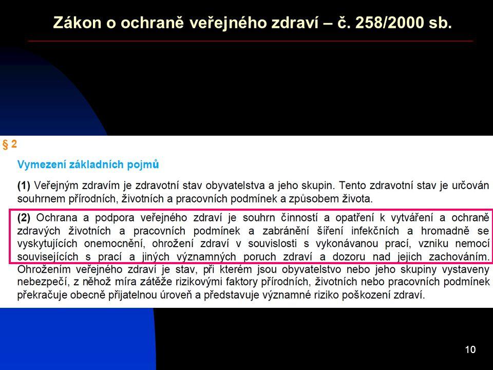10 Zákon o ochraně veřejného zdraví – č. 258/2000 sb.