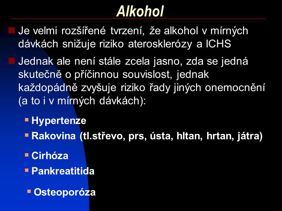 Alkohol Je velmi rozšířené tvrzení, že alkohol v mírných dávkách snižuje riziko aterosklerózy a ICHS Jednak ale není stále zcela jasno, zda se jedná s