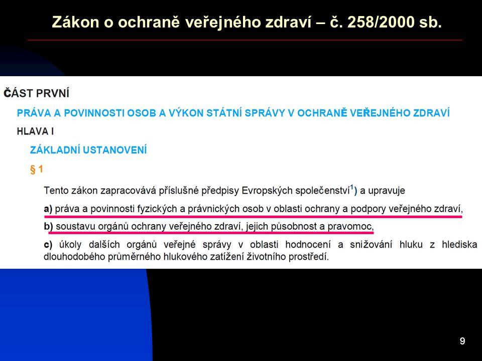 9 Zákon o ochraně veřejného zdraví – č. 258/2000 sb.