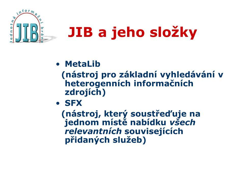 JIB a jeho složky MetaLib (nástroj pro základní vyhledávání v heterogenních informačních zdrojích) SFX (nástroj, který soustřeďuje na jednom místě nabídku všech relevantních souvisejících přidaných služeb)