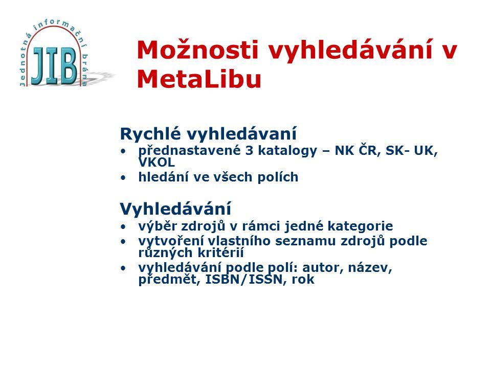 Možnosti vyhledávání v MetaLibu Rychlé vyhledávaní přednastavené 3 katalogy – NK ČR, SK- UK, VKOL hledání ve všech polích Vyhledávání výběr zdrojů v rámci jedné kategorie vytvoření vlastního seznamu zdrojů podle různých kritérií vyhledávání podle polí: autor, název, předmět, ISBN/ISSN, rok