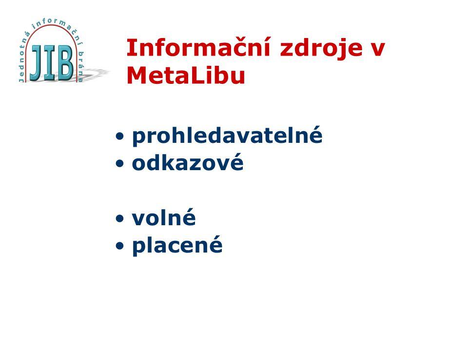 Informační zdroje v MetaLibu prohledavatelné odkazové volné placené