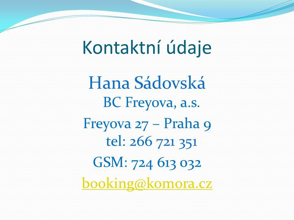 Kontaktní údaje Hana Sádovská BC Freyova, a.s.
