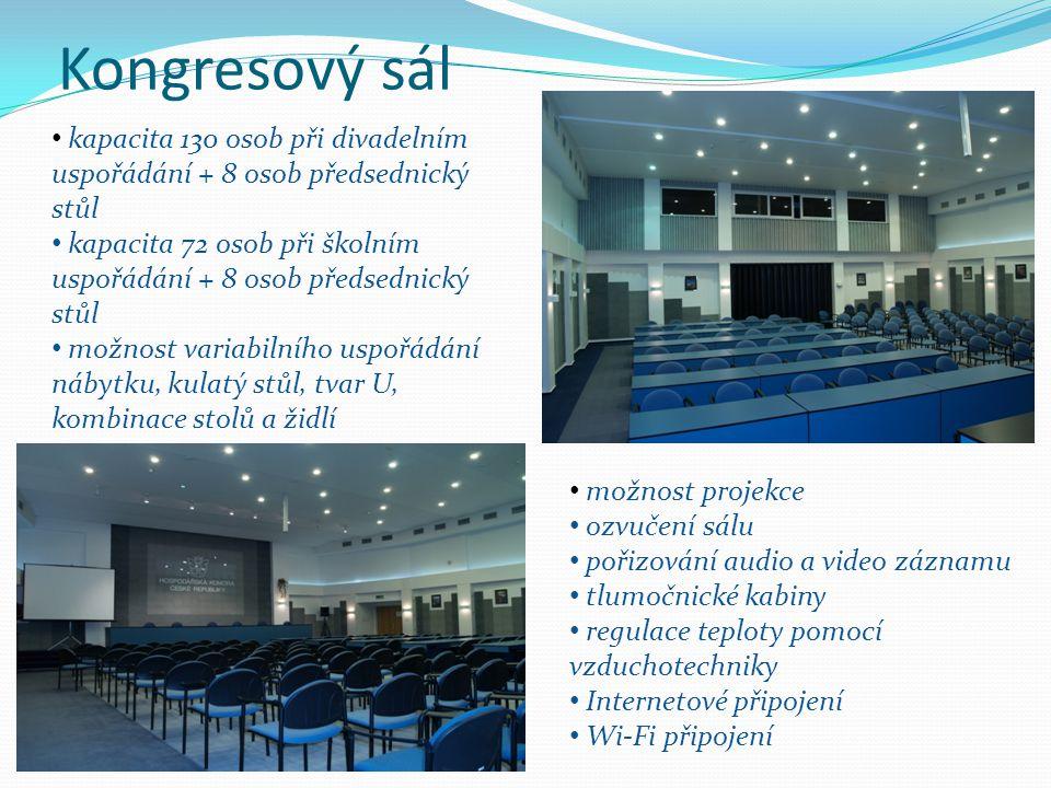 Kongresový sál kapacita 130 osob při divadelním uspořádání + 8 osob předsednický stůl kapacita 72 osob při školním uspořádání + 8 osob předsednický st