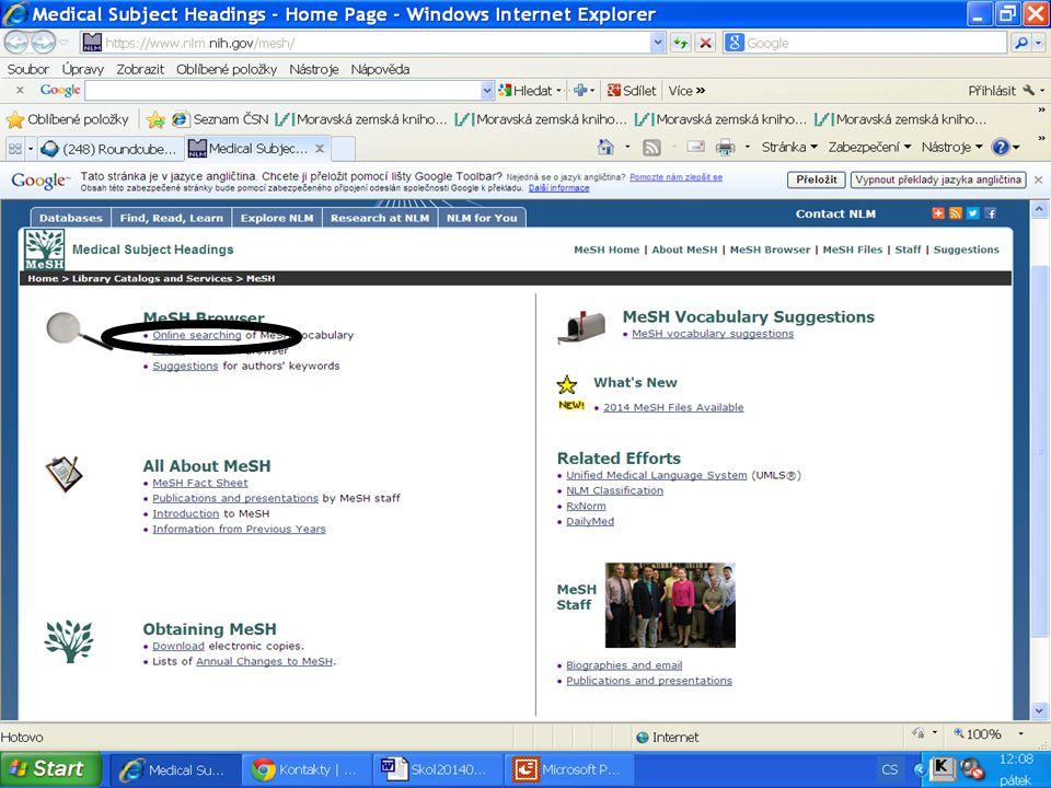 PubMed Pokročilé vyhledávání Rejstříky