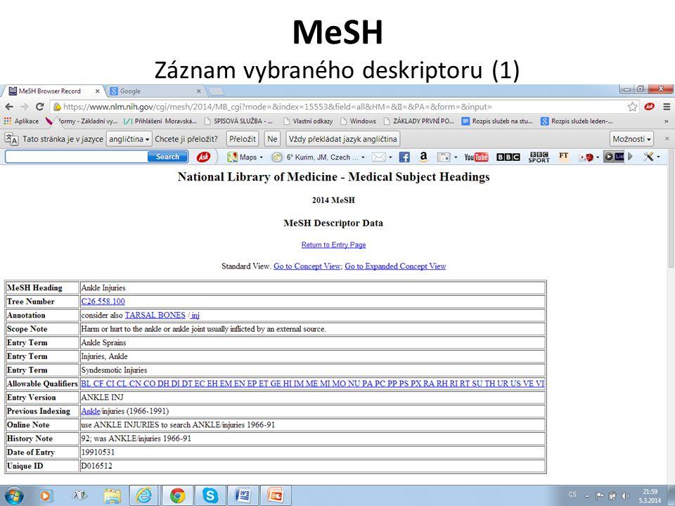 MeSH Záznam vybraného deskriptoru (2)