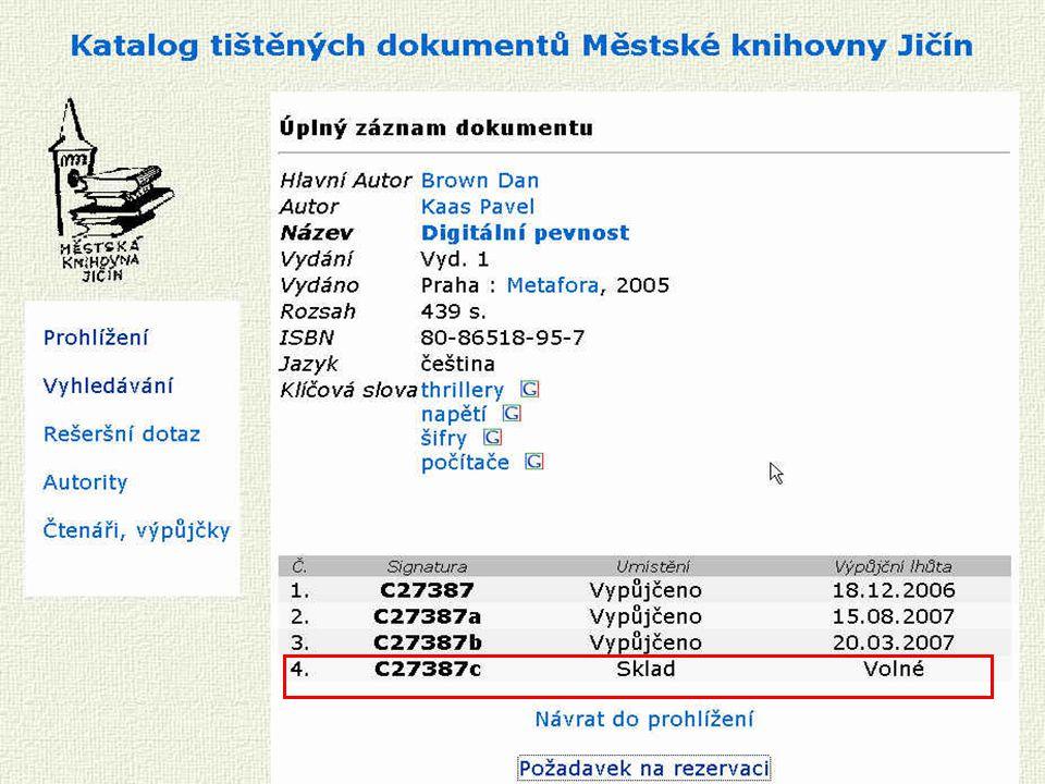 Školení JVK České Budějovice 8.12.2006 Vyhledat dokument jinde