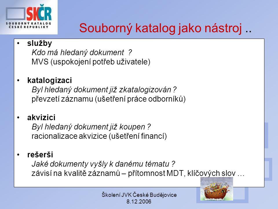 Školení JVK České Budějovice 8.12.2006 Souborný katalog jako nástroj.. služby Kdo má hledaný dokument ? MVS (uspokojení potřeb uživatele) katalogizaci