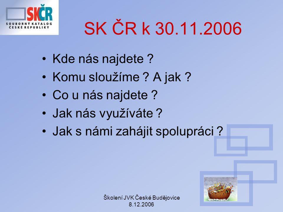Školení JVK České Budějovice 8.12.2006 Kde nás najdete ? Komu sloužíme ? A jak ? Co u nás najdete ? Jak nás využíváte ? Jak s námi zahájit spolupráci