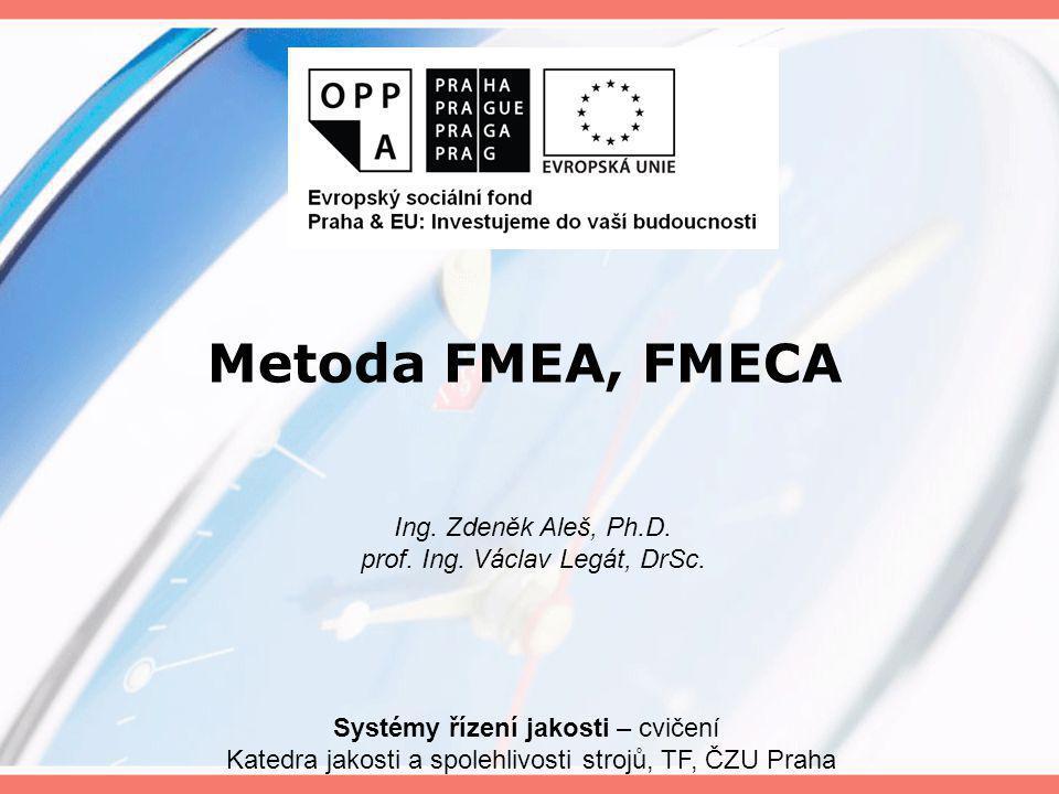 Metoda FMEA, FMECA Systémy řízení jakosti – cvičení Katedra jakosti a spolehlivosti strojů, TF, ČZU Praha Ing. Zdeněk Aleš, Ph.D. prof. Ing. Václav Le