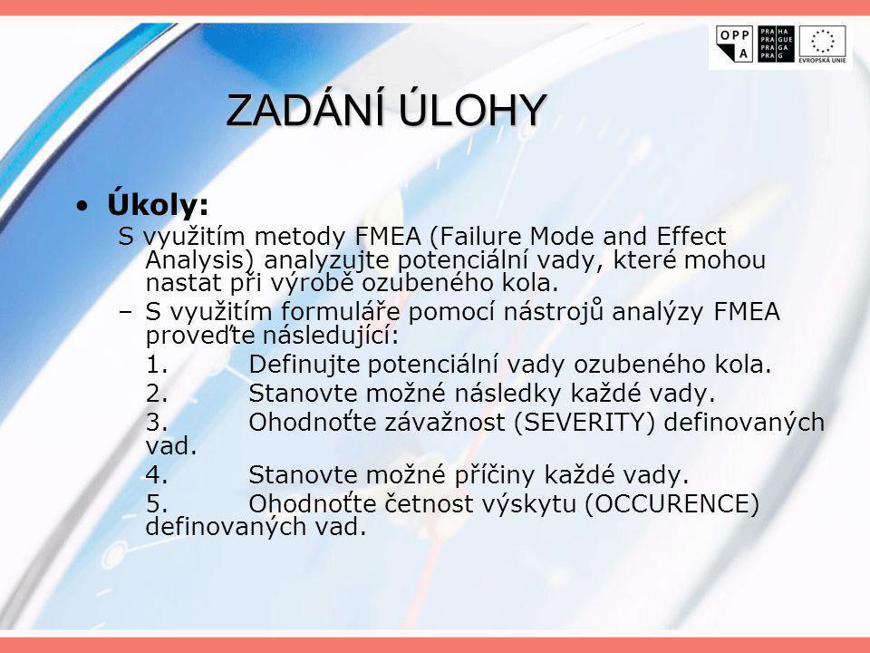 ZADÁNÍ ÚLOHY Úkoly: S využitím metody FMEA (Failure Mode and Effect Analysis) analyzujte potenciální vady, které mohou nastat při výrobě ozubeného kol