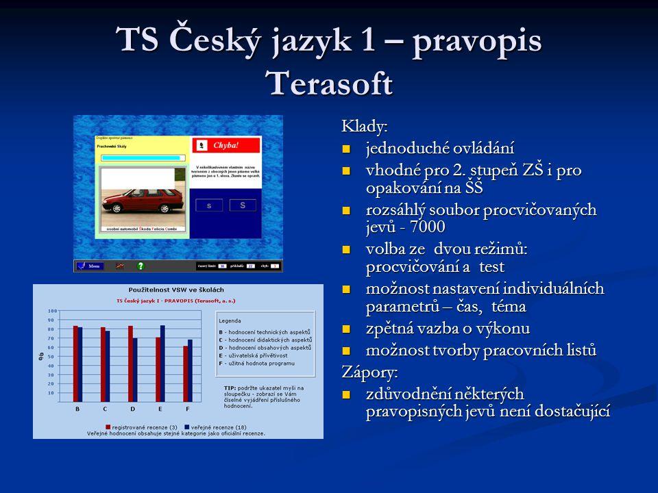 TS Český jazyk 1 – pravopis Terasoft Klady: jednoduché ovládání vhodné pro 2. stupeň ZŠ i pro opakování na ŠŠ rozsáhlý soubor procvičovaných jevů - 70