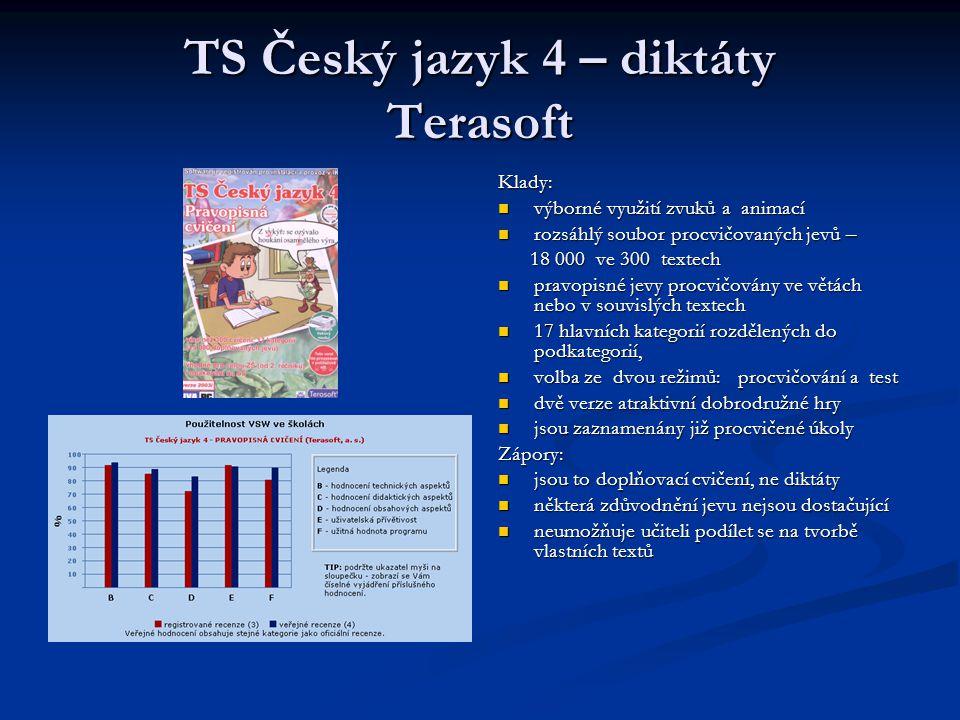 TS Český jazyk 4 – diktáty Terasoft Klady: výborné využití zvuků a animací rozsáhlý soubor procvičovaných jevů – 18 000 ve 300 textech pravopisné jevy