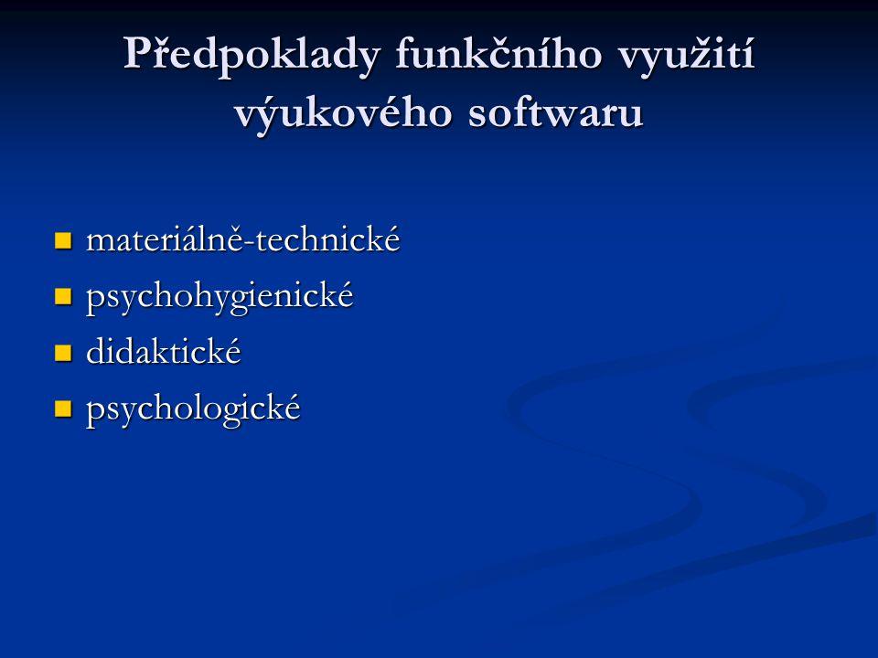 Předpoklady funkčního využití výukového softwaru materiálně-technické materiálně-technické psychohygienické psychohygienické didaktické didaktické psy