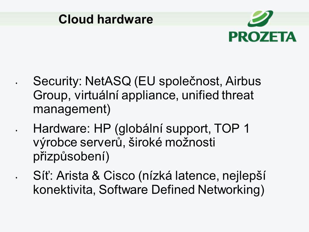 Security: NetASQ (EU společnost, Airbus Group, virtuální appliance, unified threat management) Hardware: HP (globální support, TOP 1 výrobce serverů,