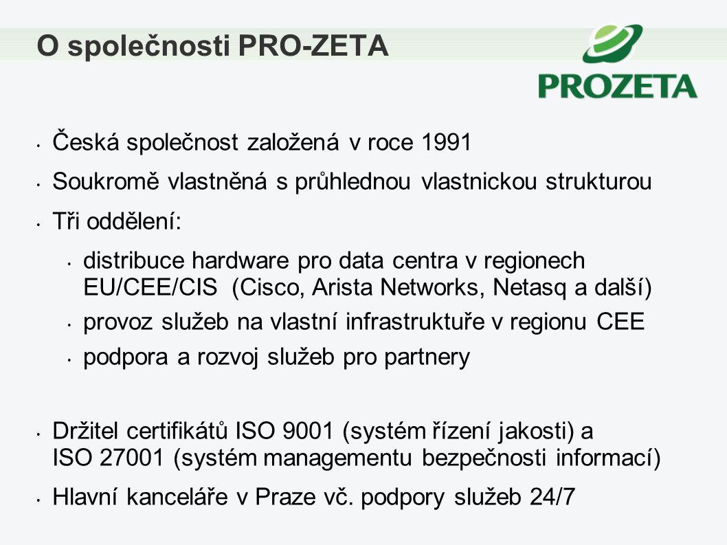 Česká společnost založená v roce 1991 Soukromě vlastněná s průhlednou vlastnickou strukturou Tři oddělení: distribuce hardware pro data centra v regio