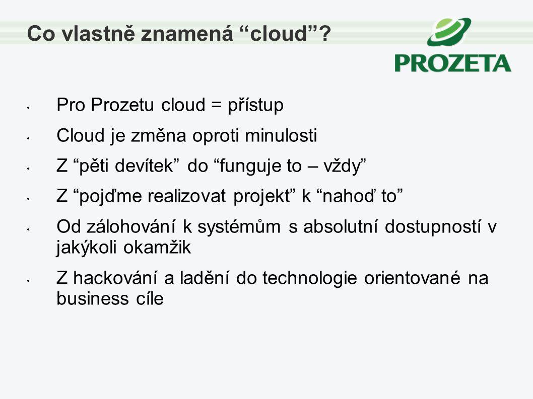 """Pro Prozetu cloud = přístup Cloud je změna oproti minulosti Z """"pěti devítek"""" do """"funguje to – vždy"""" Z """"pojďme realizovat projekt"""" k """"nahoď to"""" Od zálo"""