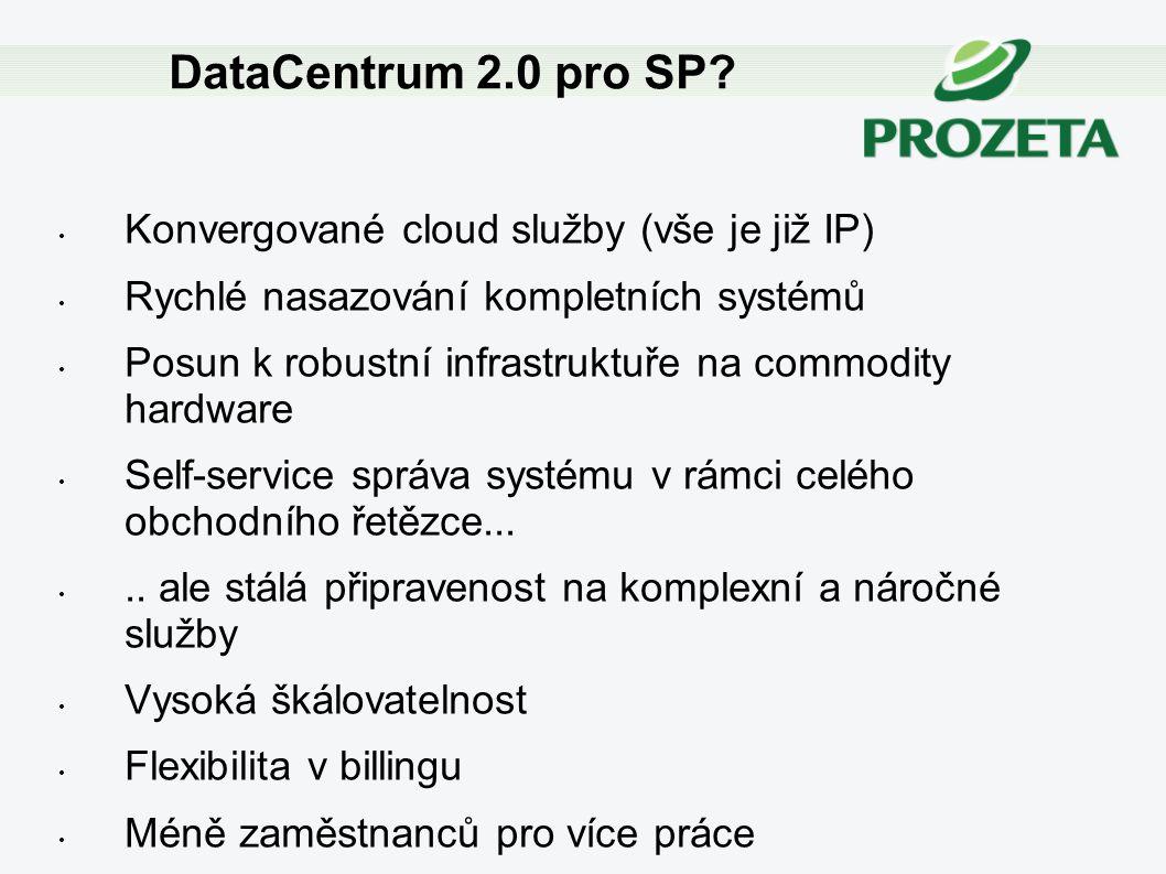 Konvergované cloud služby (vše je již IP) Rychlé nasazování kompletních systémů Posun k robustní infrastruktuře na commodity hardware Self-service spr