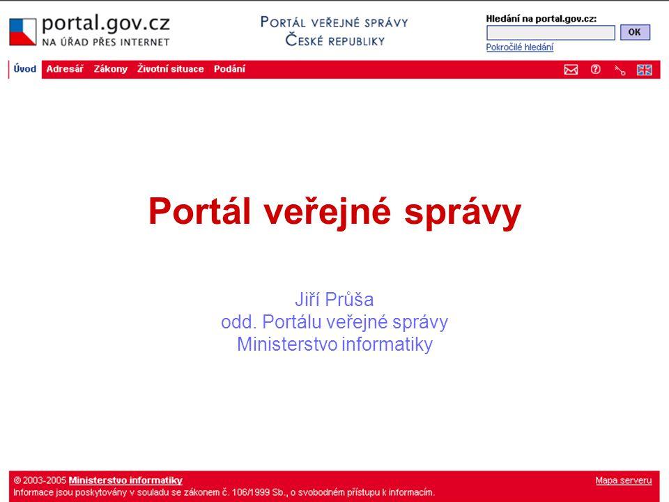 Portál veřejné správy Jiří Průša odd. Portálu veřejné správy Ministerstvo informatiky