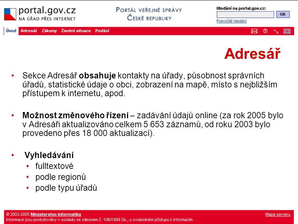Adresář Sekce Adresář obsahuje kontakty na úřady, působnost správních úřadů, statistické údaje o obci, zobrazení na mapě, místo s nejbližším přístupem