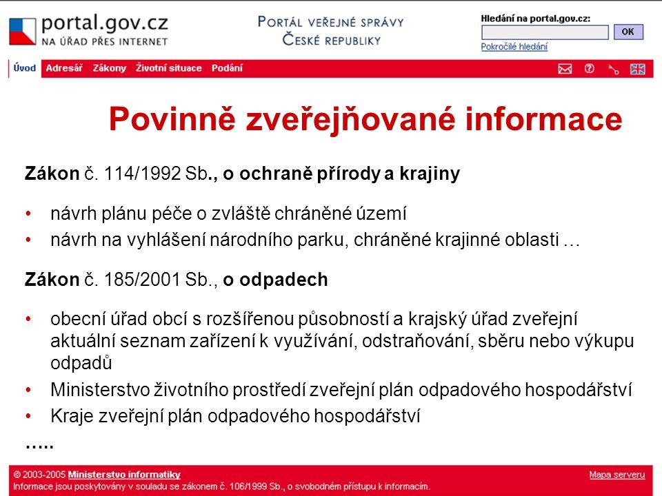 Povinně zveřejňované informace Zákon č.