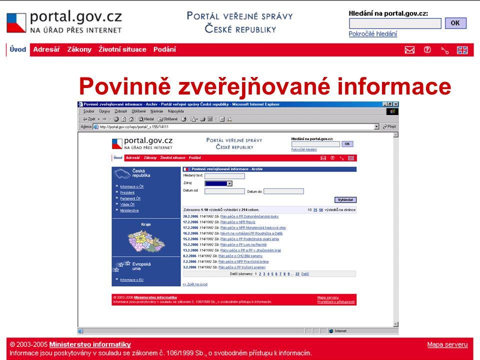 Povinně zveřejňované informace