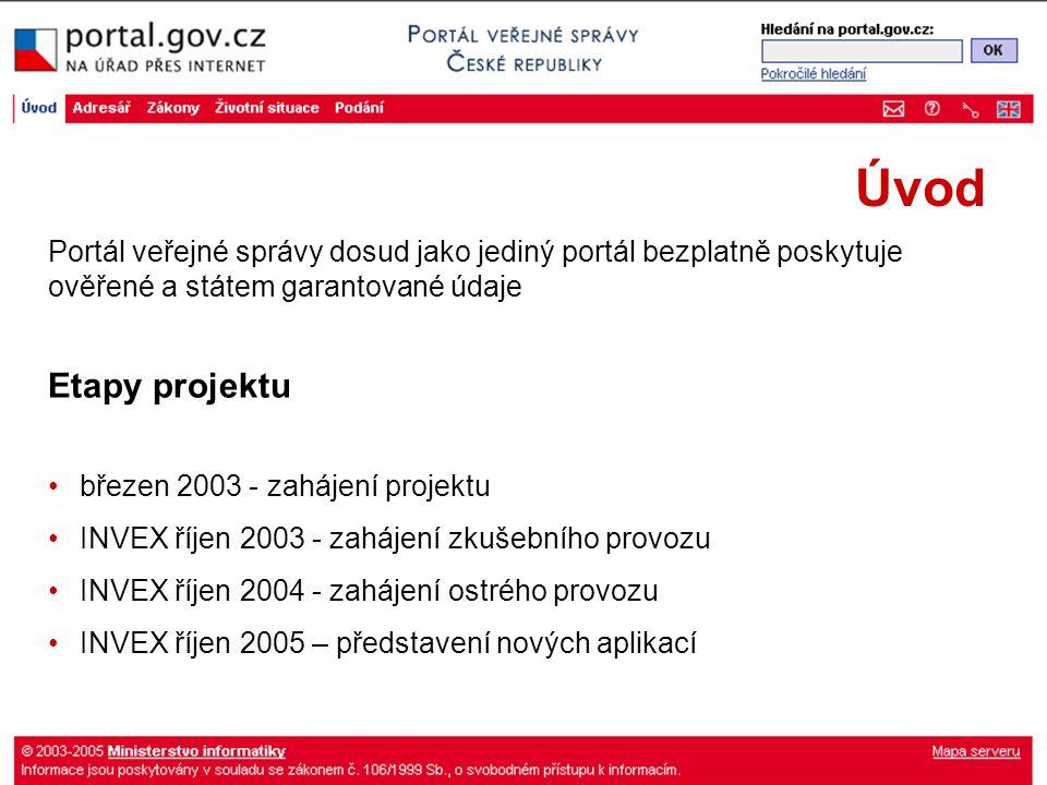 Úvod Etapy projektu březen 2003 - zahájení projektu INVEX říjen 2003 - zahájení zkušebního provozu INVEX říjen 2004 - zahájení ostrého provozu INVEX říjen 2005 – představení nových aplikací Portál veřejné správy dosud jako jediný portál bezplatně poskytuje ověřené a státem garantované údaje