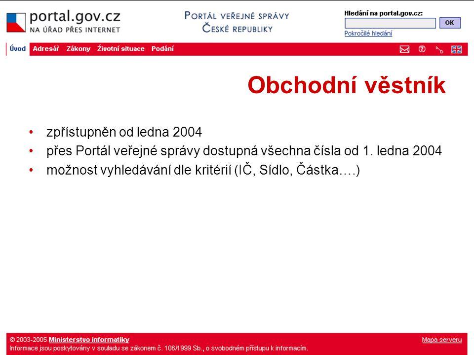 Obchodní věstník zpřístupněn od ledna 2004 přes Portál veřejné správy dostupná všechna čísla od 1. ledna 2004 možnost vyhledávání dle kritérií (IČ, Sí