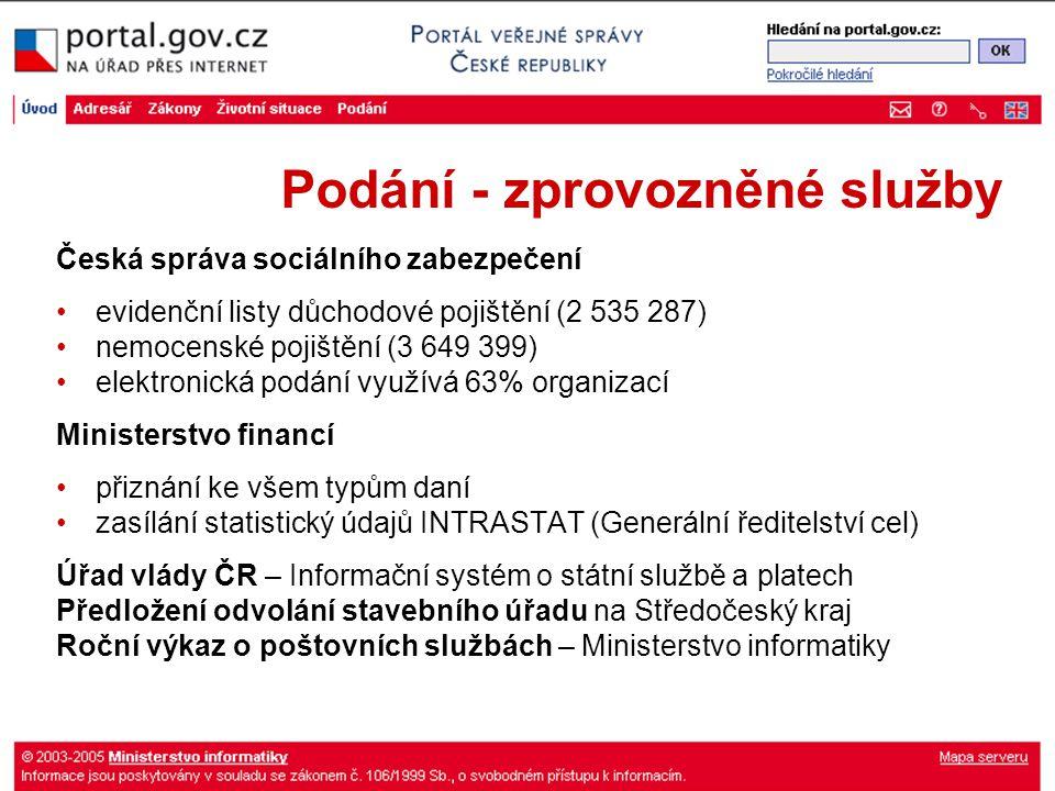 Podání - zprovozněné služby Česká správa sociálního zabezpečení evidenční listy důchodové pojištění (2 535 287) nemocenské pojištění (3 649 399) elekt