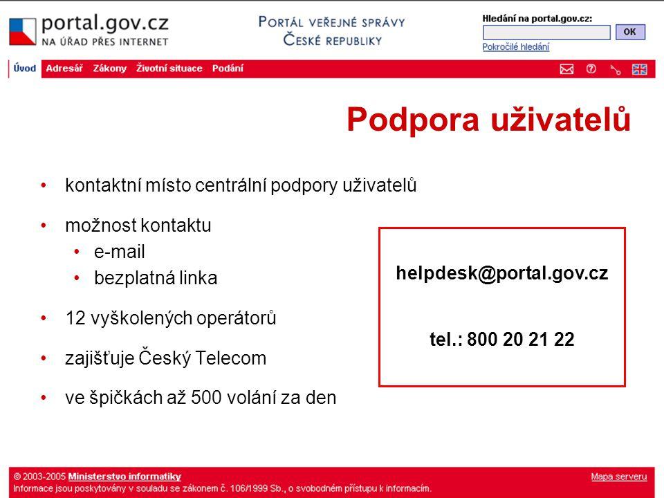Podpora uživatelů kontaktní místo centrální podpory uživatelů možnost kontaktu e-mail bezplatná linka 12 vyškolených operátorů zajišťuje Český Telecom ve špičkách až 500 volání za den helpdesk@portal.gov.cz tel.: 800 20 21 22