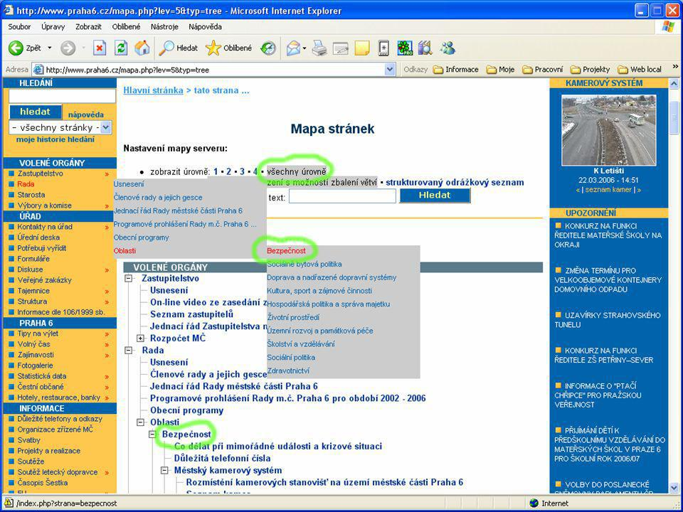 Logování vyhledávání Administrátorům přístupné logy vyhledávaných řetězců a nalezených stránek Podrobné informace o chování návštěvníků Možnost statistického zpracování a následné optimalizace vyhledávacího engine nebo klíčových slov (SEO);