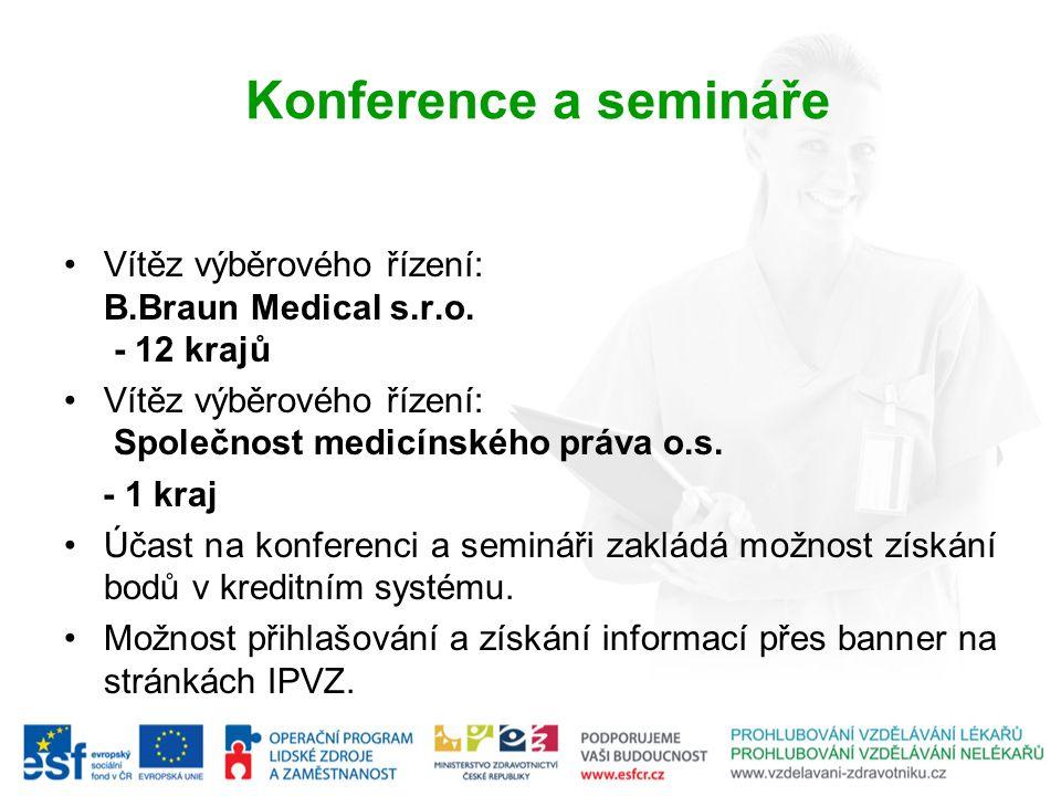 Konference a semináře Vítěz výběrového řízení: B.Braun Medical s.r.o. - 12 krajů Vítěz výběrového řízení: Společnost medicínského práva o.s. - 1 kraj