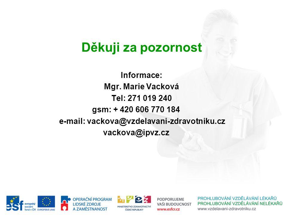 Děkuji za pozornost Informace: Mgr. Marie Vacková Tel: 271 019 240 gsm: + 420 606 770 184 e-mail: vackova@vzdelavani-zdravotniku.cz vackova@ipvz.cz