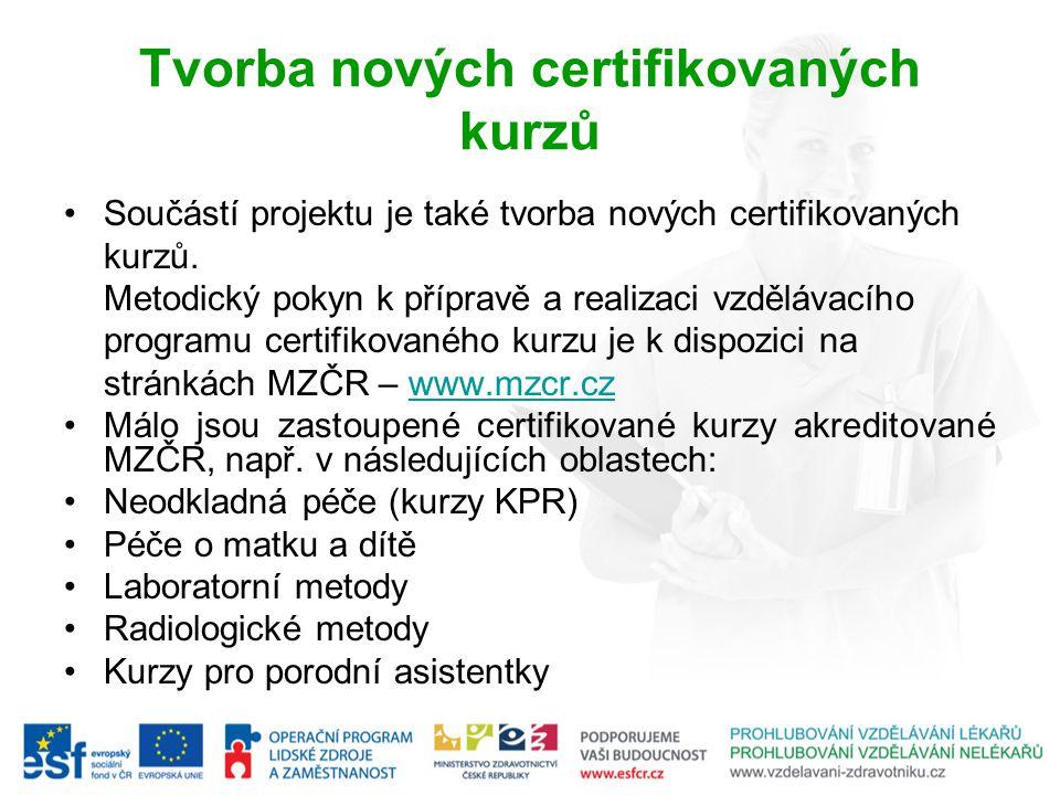 Tvorba nových certifikovaných kurzů Součástí projektu je také tvorba nových certifikovaných kurzů. Metodický pokyn k přípravě a realizaci vzdělávacího