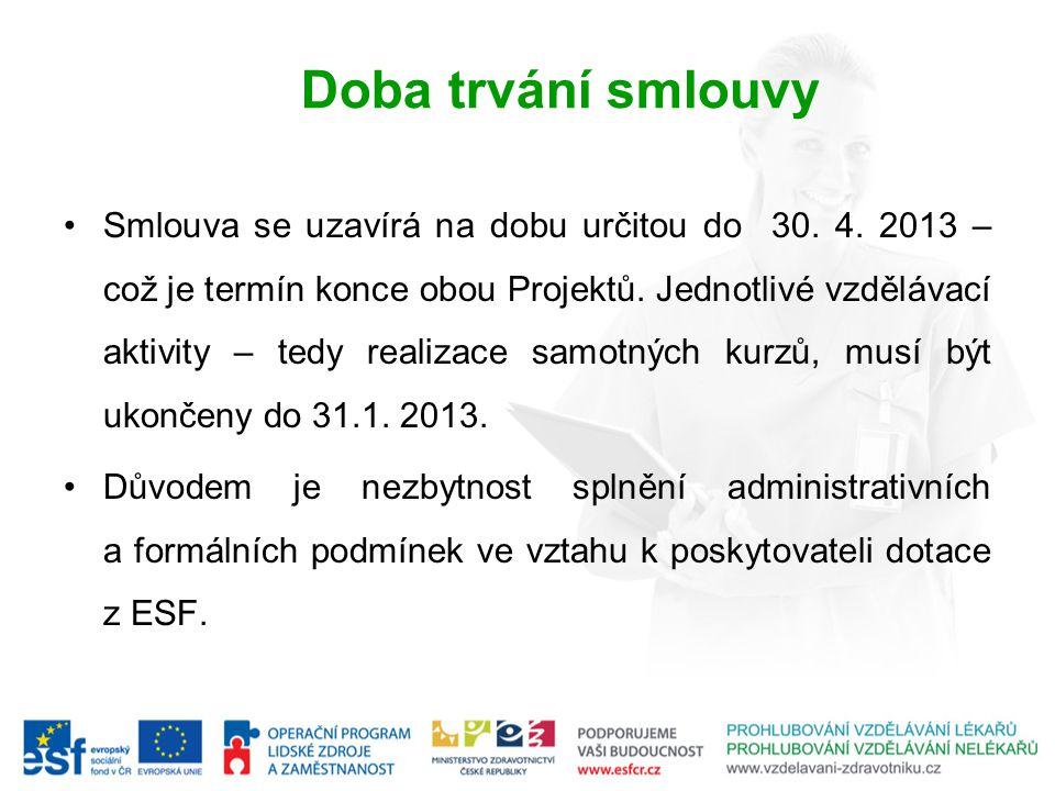 Doba trvání smlouvy Smlouva se uzavírá na dobu určitou do 30. 4. 2013 – což je termín konce obou Projektů. Jednotlivé vzdělávací aktivity – tedy reali
