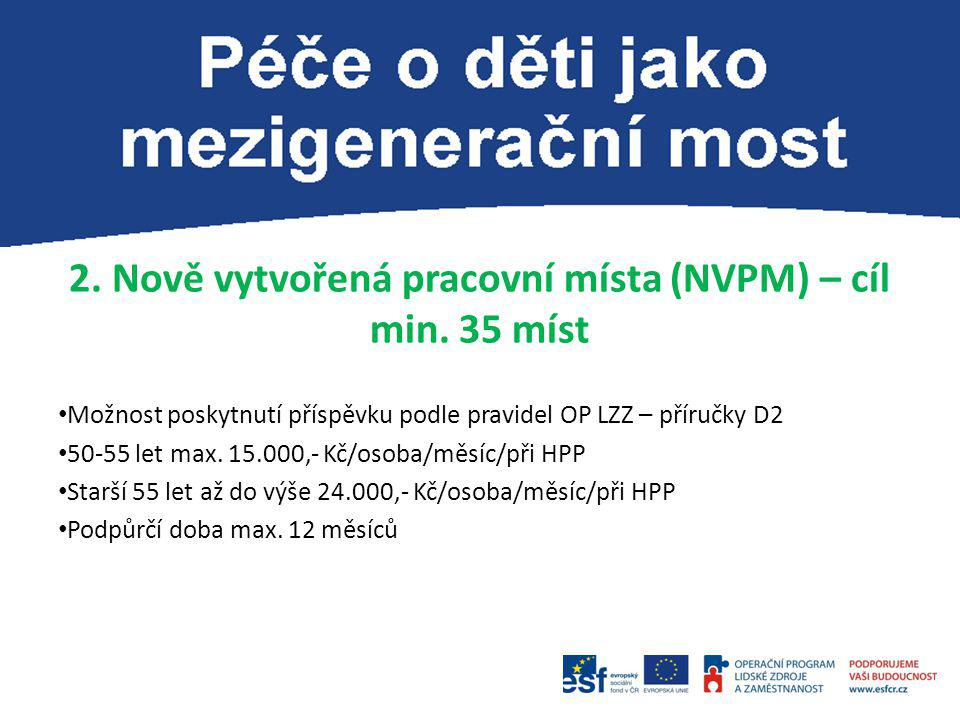 2. Nově vytvořená pracovní místa (NVPM) – cíl min. 35 míst Možnost poskytnutí příspěvku podle pravidel OP LZZ – příručky D2 50-55 let max. 15.000,- Kč