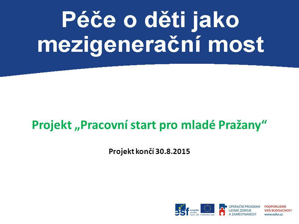"""Projekt """"Pracovní start pro mladé Pražany"""" Projekt končí 30.8.2015"""